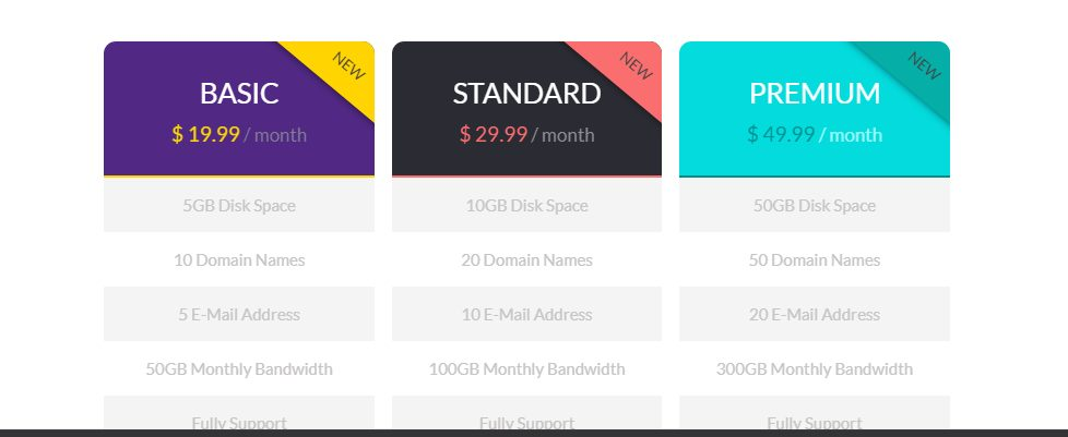 Flat Free CSS/HTML Pricing Table