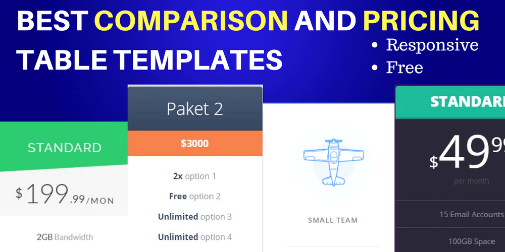 Best Comparison and Pricing Table Templates for 2018- HTML/ CSS and Free!