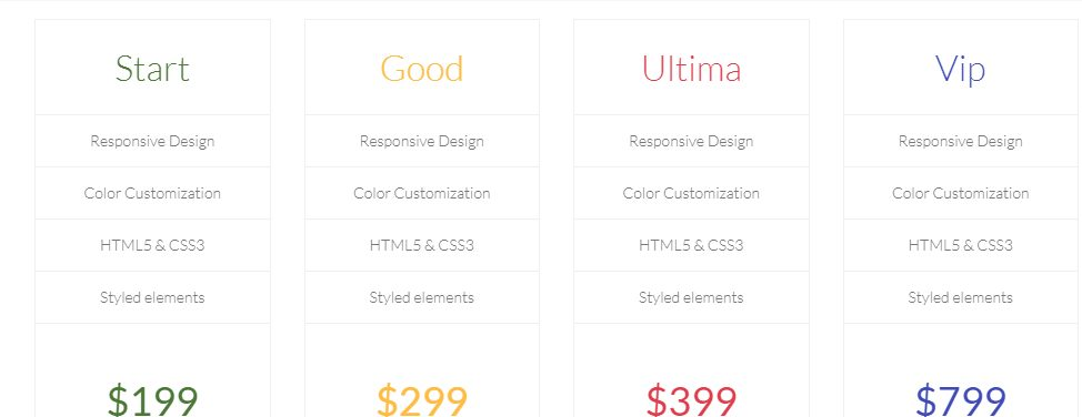 Free Full Page Pricing Table