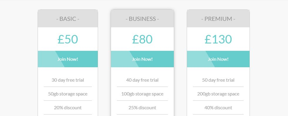 HTML/ CSS Pricing Table with Glossy Interface