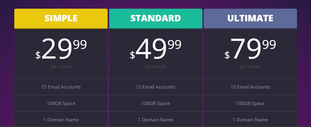 Responsive Bold Pricing Table
