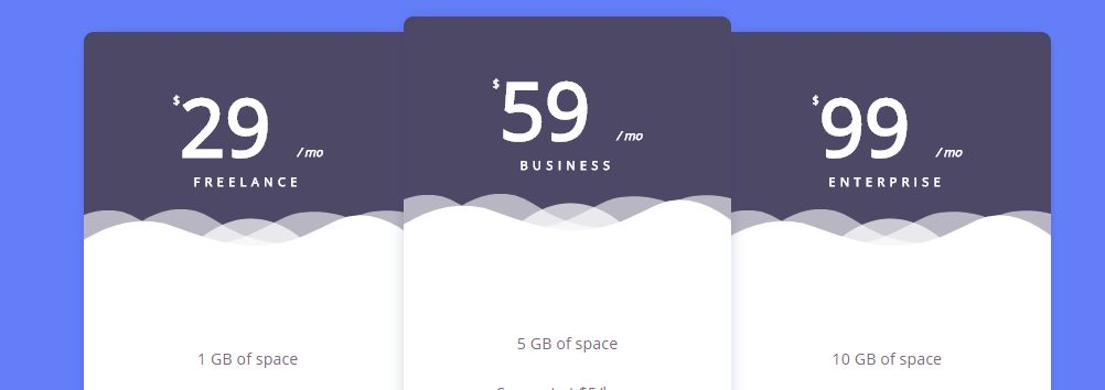 SVG based HTML Pricing Table