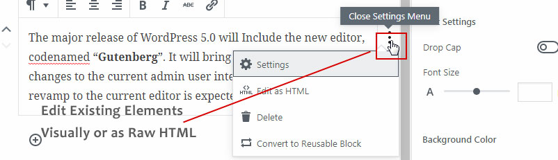 Gutenberg Editor- Edit Elements As Blocks